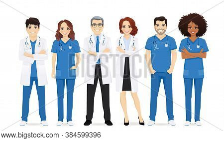 Multiethnic Doctor Team Group Set Isolated Vector Illustration