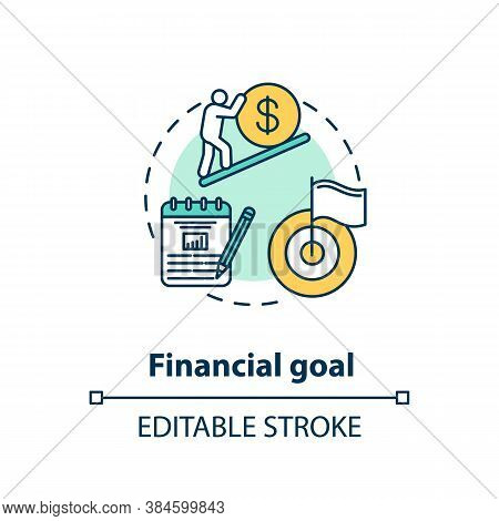 Financial Goal Concept Icon. Budget Plan. Wealthy Future. Financial Education. Money Getting Target