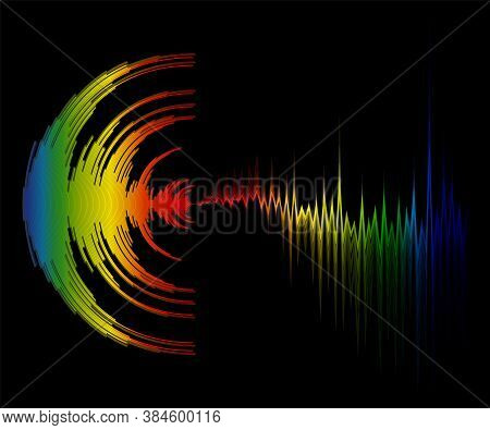 Abstract Colorful Music Background With Dynamic Waves. Poster With Neon Rainbow Sound Wave Design. V