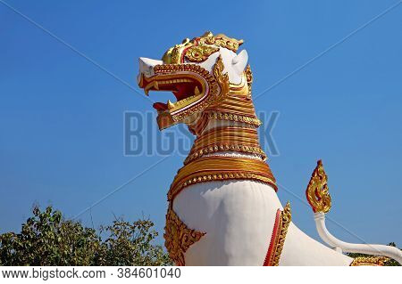 One Of Two Large Lion Sculptures At Chedi Buddhakhaya Temple In Sangkhlaburi District, Historical Pl