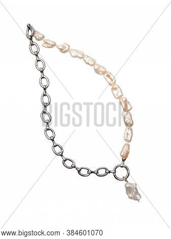 Baroque Pearl Chain Necklace With Pearl Pendant Isolated On White Background