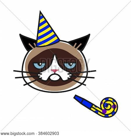 Grumpy Cat In Party Hat With Party Horn Blower