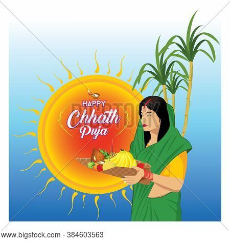 Illustration Of Women Offering Prayers To The God Sun On The Occasion Of Chhath Puja