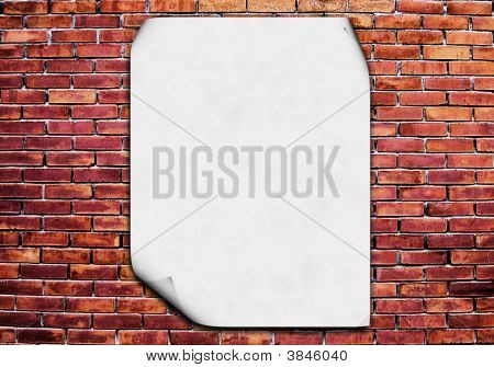 Blank Poster On Brick Wall