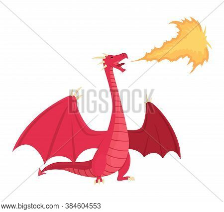 Medieval Kingdom Character Of Middle Ages Historic Period Vector Illustration. Red Dragon Spitting F