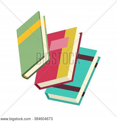 Various Books, Stack Of Books, Notebooks. Set For Book Lovers. Read More Books. Hand Drawn Education
