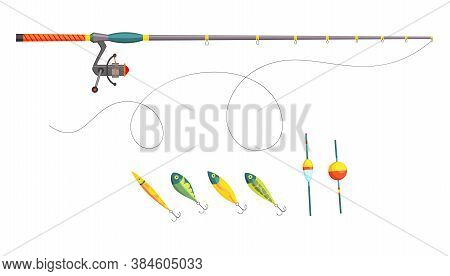 Fishing. Fishing Equipment. Outdoor Vacation. Isolated Fishery Hobby. Fish Tackle And Hook, Rod And