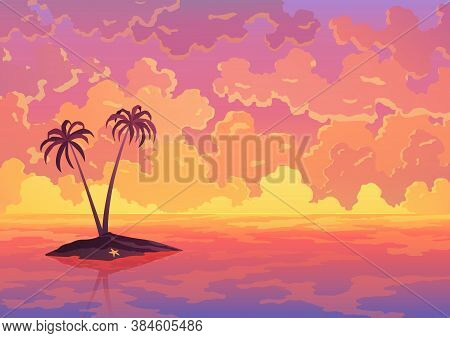 Landscape Banner. Evening Or Morning View, Sunset Or Sunrise In Ocean. Pink Clouds Flying In Sky To