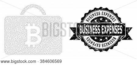 Business Expenses Corroded Seal And Vector Bitcoin Case Mesh Structure. Black Seal Includes Business