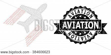 Aviation Dirty Seal And Vector Aviation Mesh Model. Black Seal Contains Aviation Caption Inside Ribb