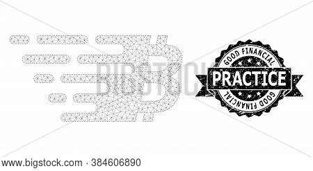 Good Financial Practice Scratched Stamp Seal And Vector Bitcoin Symbol Mesh Model. Black Stamp Seal