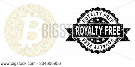 Royalty Free Scratched Stamp Seal And Vector Bitcoin Coin Mesh Structure. Black Stamp Seal Contains