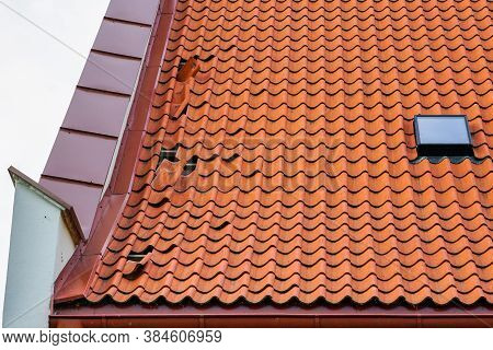 Clay Tile Roof Damage, Some Fallen Tiles