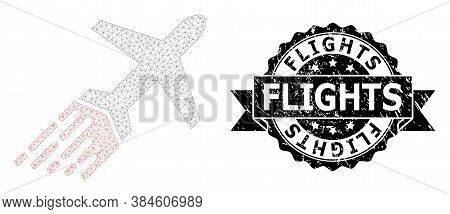 Flights Scratched Watermark And Vector Air Liner Mesh Model. Black Seal Has Flights Title Inside Rib
