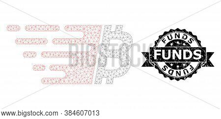 Funds Rubber Seal Imitation And Vector Bitcoin Mesh Model. Black Seal Includes Funds Title Inside Ri