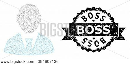 Boss Corroded Seal Print And Vector Boss Mesh Structure. Black Stamp Seal Contains Boss Caption Insi