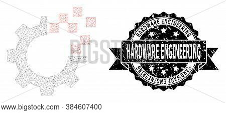 Hardware Engineering Rubber Seal Imitation And Vector Auto Gear Repair Mesh Structure. Black Stamp S