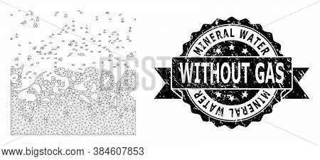 Mineral Water Without Gas Grunge Stamp Seal And Vector Boiling Liquid Mesh Model. Black Stamp Seal I