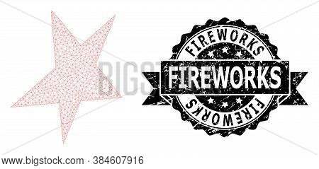 Fireworks Scratched Seal Print And Vector Asymmetrical Star Mesh Structure. Black Seal Contains Fire