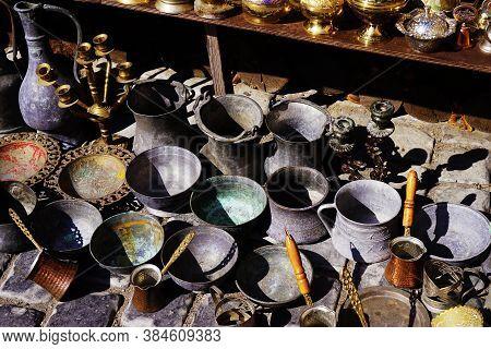 Oriental, Turkish, Azerbaijani Antique Collection Of Antique Bronze Tableware, Brass Bowl, Jugs, Spo