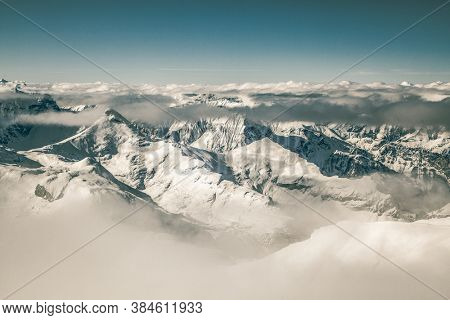 amazing snow covered peaks in the Swiss alps Jungfrau region from Schilthorn
