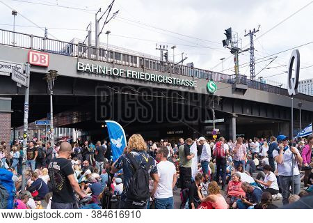 Berlin, Germany - August 29, 2020: Hundreds Of Thousands People Demonstrating In The Streets Of Berl