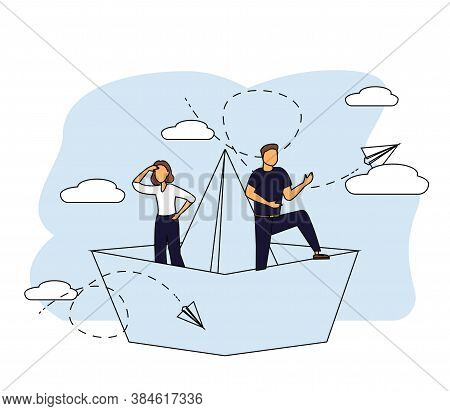 Business Leadership, Managing Skills, Leadership Training Plan Concept. Vector Isolated Concept Illu