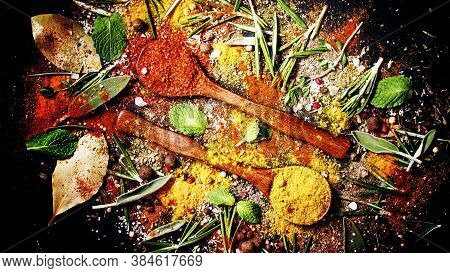 Spices Background, Food Background, Mix Of Oriental Spices, Herbs And Seasonings, Top View
