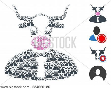 Vector Cow Boss Composition Is Constructed With Random Recursive Cow Boss Icons. Recursive Collage F