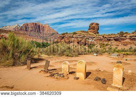 Grafton, Utah, Usa - June 13, 2020: The Abandoned Cemetery At The Grafton Ghost Town In Utah.