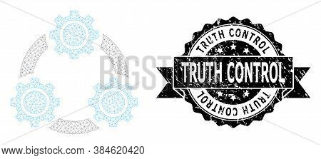 Truth Control Grunge Stamp Seal And Vector Gear Planetary Transmission Mesh Model. Black Stamp Seal