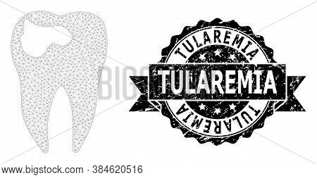 Tularemia Corroded Seal Print And Vector Tooth Caries Mesh Structure. Black Stamp Includes Tularemia