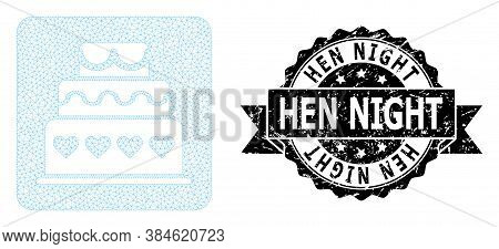 Hen Night Dirty Stamp And Vector Marriage Cake Mesh Model. Black Stamp Contains Hen Night Caption In