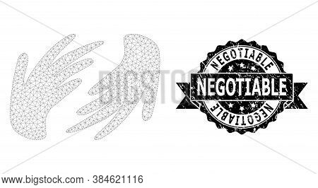 Negotiable Dirty Stamp Seal And Vector Hands Mesh Structure. Black Stamp Seal Contains Negotiable Te