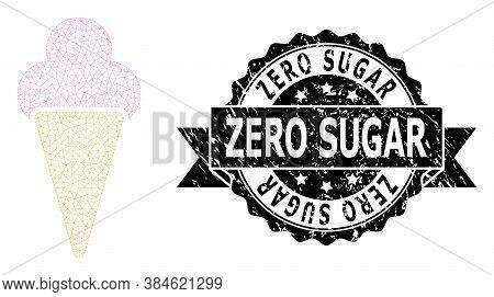 Zero Sugar Corroded Stamp And Vector Icecream Mesh Structure. Black Stamp Contains Zero Sugar Tag In