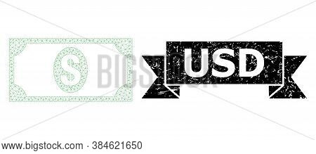 Usd Dirty Stamp Seal And Vector Usd Banknote Mesh Model. Black Stamp Includes Usd Title Inside Ribbo