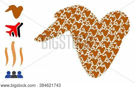 Vector Fried Chicken Wing Composition Is Composed With Repeating Recursive Fried Chicken Wing Parts.