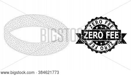 Zero Fee Textured Stamp And Vector Gold Ring Mesh Structure. Black Stamp Contains Zero Fee Caption I