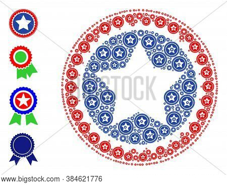 Vector Star Seal Stamp Composition Is Designed From Repeating Recursive Star Seal Stamp Icons. Recur