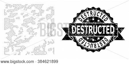 Destructed Rubber Seal Print And Vector Destructed Mesh Structure. Black Stamp Has Destructed Text I