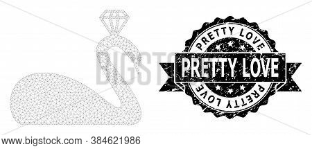 Pretty Love Grunge Stamp And Vector Crowned Swan Mesh Model. Black Stamp Contains Pretty Love Title