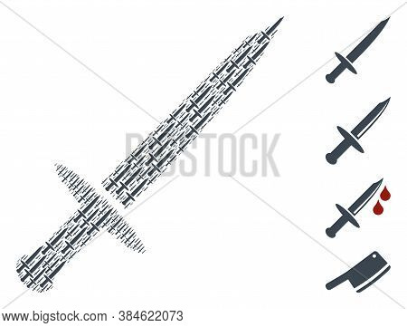 Vector Blade Knife Composition Is Composed From Scattered Self Blade Knife Icons. Recursive Composit
