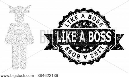 Like A Boss Scratched Seal Print And Vector Bull Gentleman Mesh Structure. Black Stamp Seal Includes