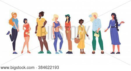 Pretty Multiracial Woman Different Physique, Nationality, Appearance Set. Lady Having Variety Height
