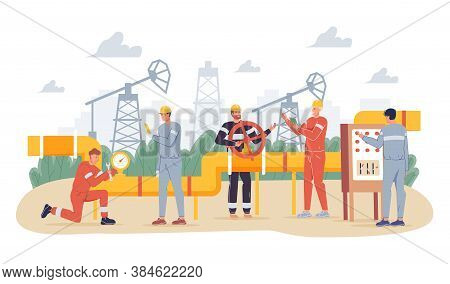 Oil Gas Industry Concept. People Oilman Worker Wearing Overalls Engaged In Gasoline Pipe Steel Const