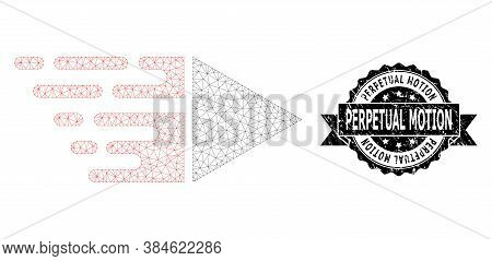 Perpetual Motion Unclean Stamp Seal And Vector Motion Mesh Model. Black Stamp Seal Has Perpetual Mot