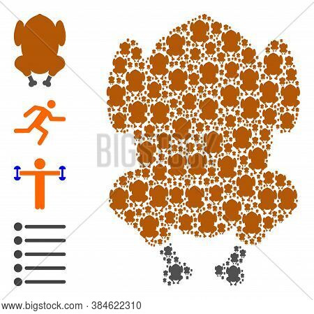 Vector Fried Chicken Body Composition Is Created Of Repeating Recursive Fried Chicken Body Pictogram