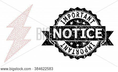 Important Notice Corroded Stamp Seal And Vector Electric Spark Mesh Structure. Black Stamp Has Impor