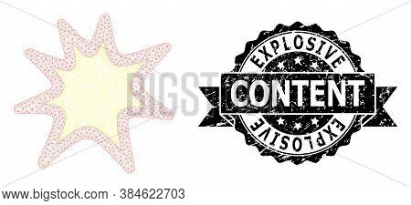 Explosive Content Unclean Seal And Vector Exploding Boom Mesh Structure. Black Stamp Includes Explos
