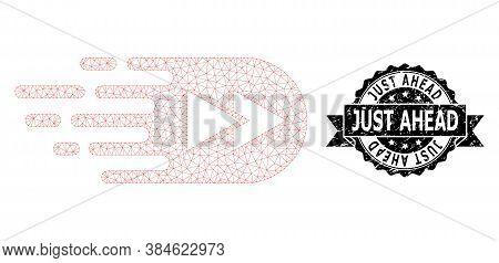 Just Ahead Grunge Seal Print And Vector Rewind Forward Mesh Model. Black Seal Has Just Ahead Caption